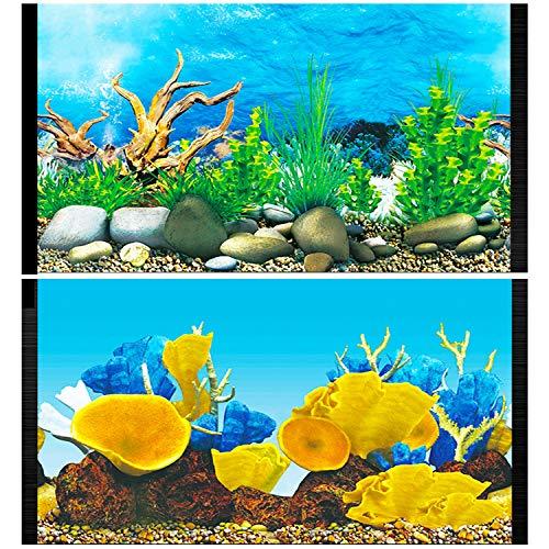 Lainrrew Aquarium Backgrounds, 12 x 21Inch Double Sided Fish Tank Background Aquarium Poster Decoration Paper Cling Decals Wallpaper Sticker