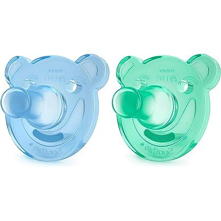 Philips Avent Soothie - Pack de 2 Chupetes calmantes de silicona médica, sin BPA, de 0 a 3 meses, niño, color azul y verde