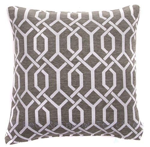 Red Rainbow Grey & White 18' Chenille Geometric Cushion Cover