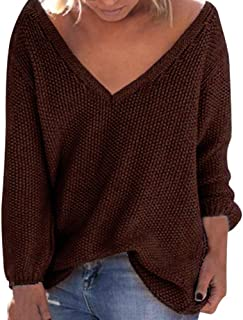 Women Plus Size V-Neck Sweater Coat Tops Loose Deep V Pullover Sweater Blouse Henley Shirts Sweatshirt Tops