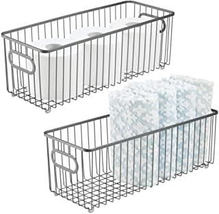 mDesign Deep Metal Bathroom Storage Organizer Basket Bin - Farmhouse Wire Grid Design - for Cabinets, Shelves, Closets, Vanity Countertops, Bedrooms, Under Sinks - 2 Pack - Graphite Gray