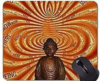ロック式エッジ付きマウスパッド、大きな仏像の滑り止めラバーベースマウスパッド