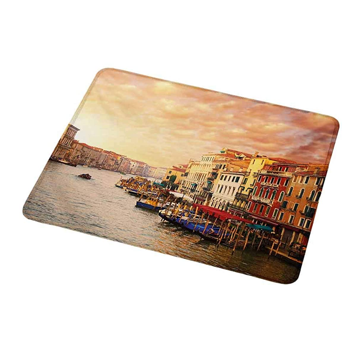 Gaming Mouse Pad Custom Design Mat Scenery,Venezia City Italian Landscape with Old Ancient Houses Gondollas and Spikes Image,Non-Slip Rubber Base Ideal for Keyboard,PC and Laptop 9.8
