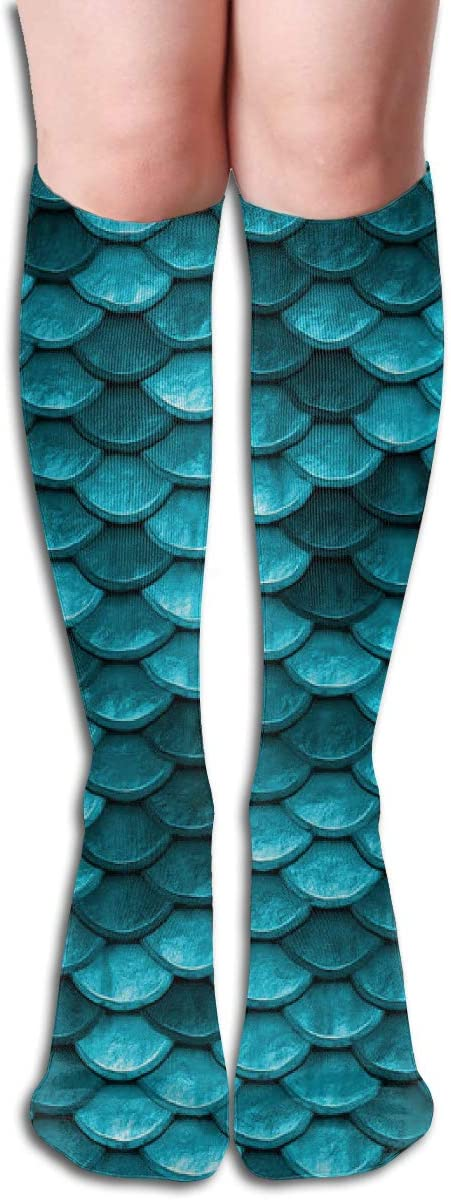 Blue Mermaid Fish Scales Casual Socks Athletic Socks for Women and Mens Sports, Travel, Party Etc 19.7 Inch