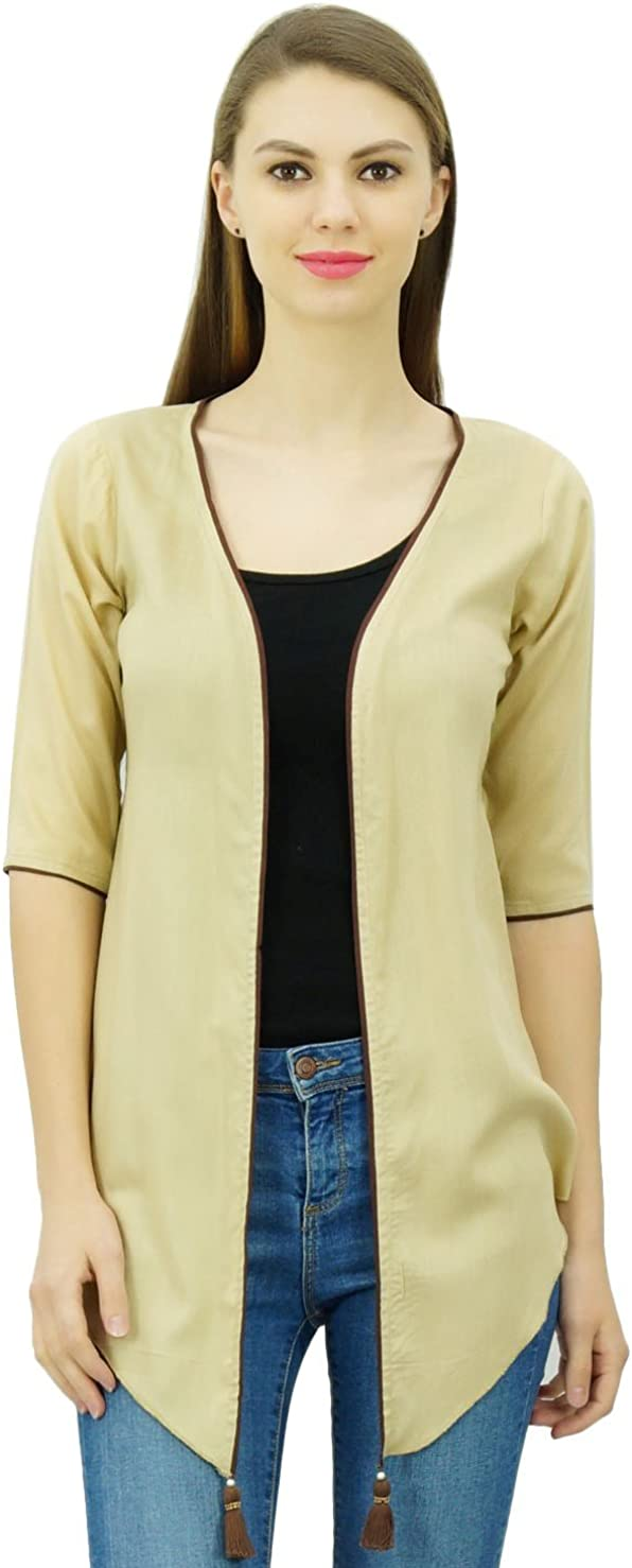 Phagun Women Open Front Casual Shrug Top Short Sleeve Rayon Cover Up Cardigan