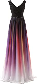 gradient ombre chiffon prom dress