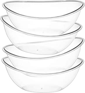 Oval Plastic Serving Bowls – Party Snack or Salad Disposable Bowl, 80-Ounce, KZ (8)