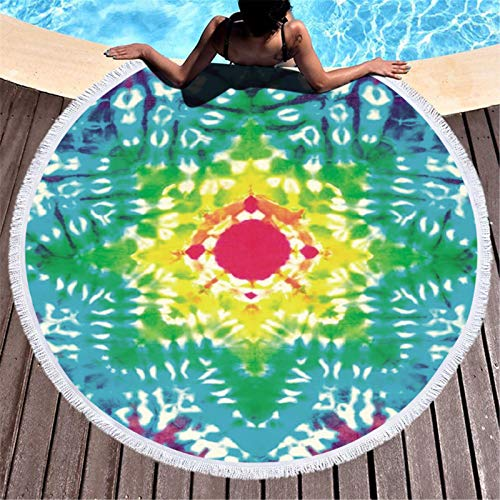 Beach Towel, Cute Graphic Round Beach Towels Oversized Clearance, Beach Blanket Waterproof Sandproof for adults for Travel Beach Swimming Pool (Bright Color-B)