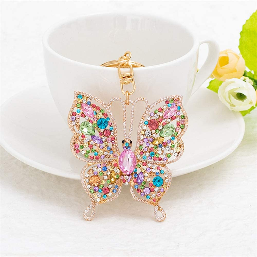 LKEEP Stylish Rhinestone Butterfly Shape Keyring Birthday Valentine's Day for Women and Men,Colorful
