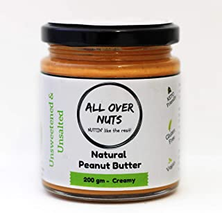 All Over Nuts Natural Peanut Butter, 200 gm Creamy (Gluten Free, Vegan)