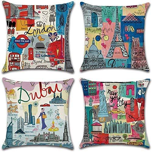 Juego de 4 fundas de cojín, diseño de cultura de viajes, Londres, París, Dubai, Nueva York, algodón, lino, decorativas, fundas de almohada para sofá de 45,7 x 45,7 cm