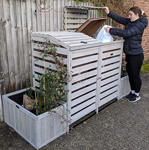 BinGarden Double Wheelie Bin Store with Bi-Fold Roof and matching Planters. Garbage Shed for up to 240L Bins / 65G Cans. Planter Boxes for storage of two Kerbside Recycling Boxes, Painted Silver Grey