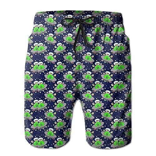 Herren Sommer Grün Aliens UFO Planet Schnelltrocknend Badehose Boader Shorts Strandbadeanzug Sport, Größe XL
