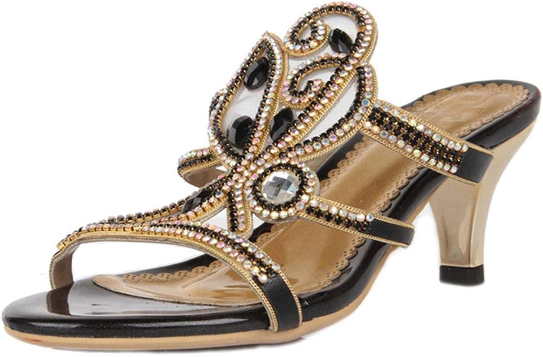LizForm Strappy Heeled Sandal Crystal Stud Mesh Floral Sandal Kitten Heel