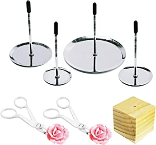 Woohome 7 PCS Cake Décoration Nails, 4 Taille Cake Aiguille de Fleur Clou, 2 PCS Ciseaux en Plastique et 1 PCS Support Boi...