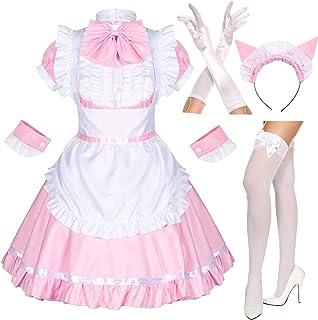 Elibelle Japanese Anime Sissy Maid Dress Cosplay Sweet Classic Lolita Fancy Apron Maid Dress with Socks Gloves Set