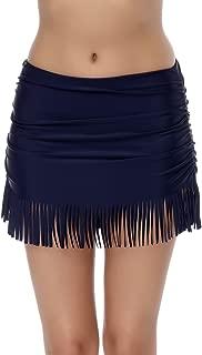 Women's Shirred Skirted Bikini Bottom Tassels Swim Skirt