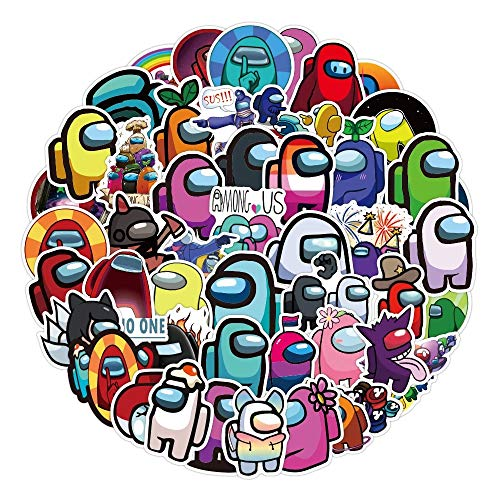 REYOK 100 Pcs Paquete de Pegatinas, Among Us Game Stickers PVC Etiqueta Impermeable Divertido Juego Tema Decoración para Monopatín Nevera Guitarra Laptop Motocicleta Equipaje De Viaje Niños Pegatinas