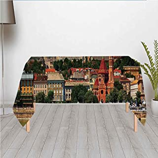 Wanderlust Decor Waterproof Satin Tablecloth,Budapest Hungary Exterior Europe Dome Architecture by River Landmark Panorama Cityscape for Wedding Party Banquet Restaurant Kitchen Dining Decoration,60.