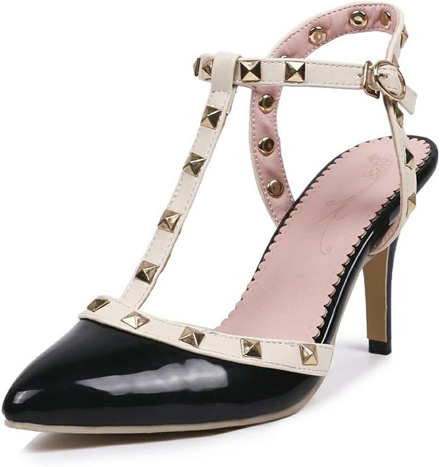 QianQianStore Size 32-43 Ladies Sandals T Strap Rivets Buckle High Heels Summer shoes Women Sexy Wedding shoes