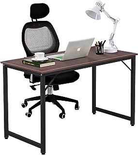 DlandHome 47 inches Medium Computer Desk, Composite Wood Board, Modern Home Office Desk/Workstation/Table, WK-JJ, Walnut and Black Legs
