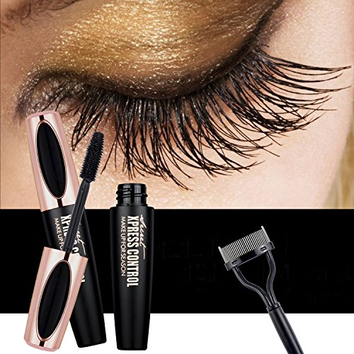 4D Silk Fiber Lash Mascara - USHION Waterproof Long Lasting Extension Long Eyelashes Mascara with Free Eyelash Comb Black - 1PC