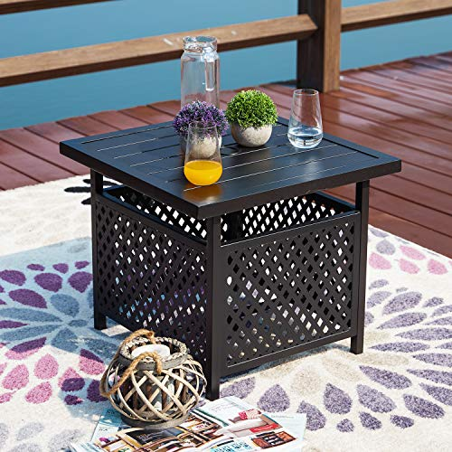 Festival Depot 21' Patio Outdoor Steel Side Table Stand with 1.6' Umbrella Hole Base Bistro Garden Pool Coffee (21.8'x 21.8'x 18.5')
