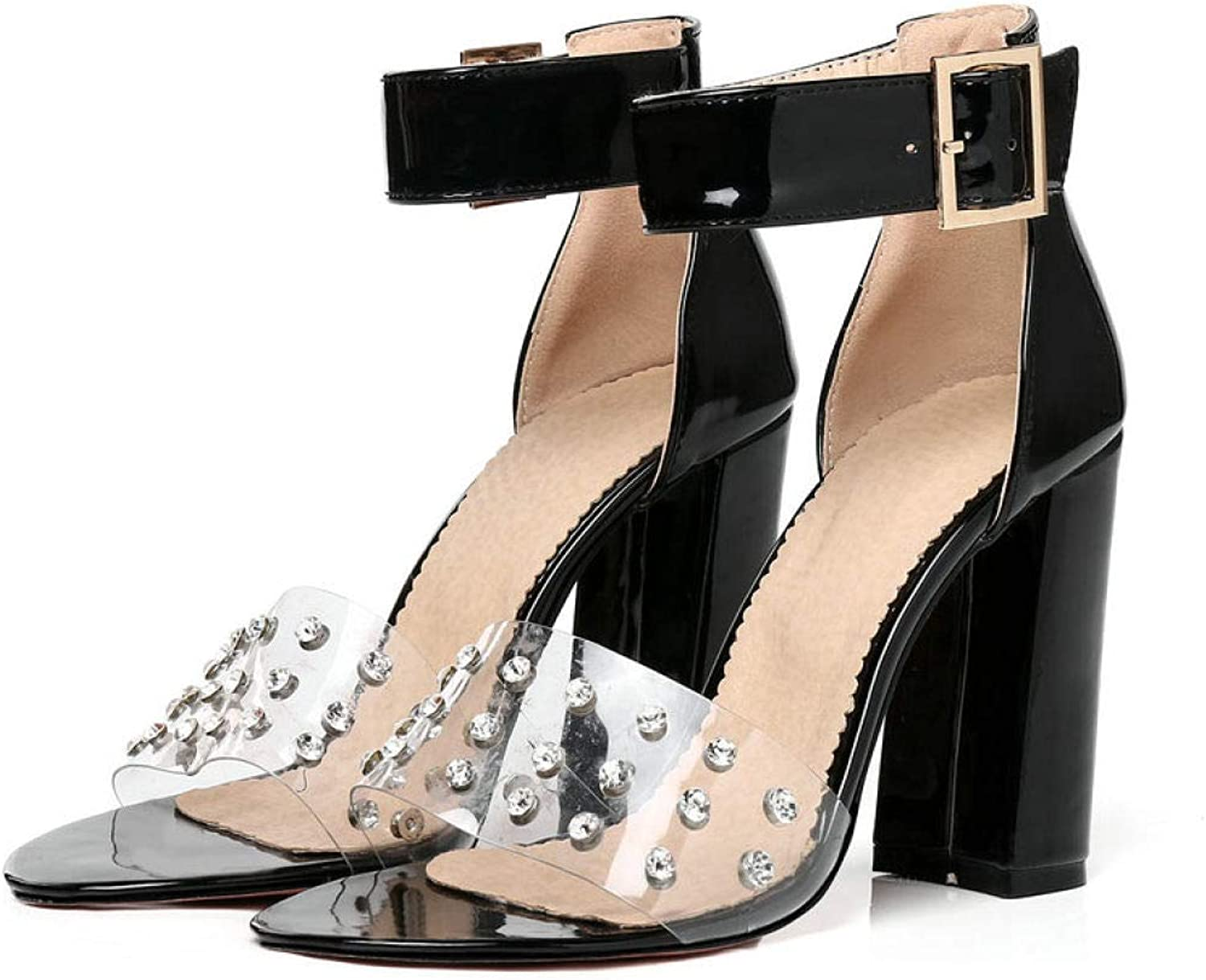 MEIZOKEN Women's Clear Strap High Chunky Heel Sandals Fashion Rhinestone Party shoes Ladies Ankle Buckle Strap Pumps Sandal
