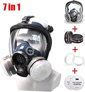 JZWDMD 7in1 Full Face Respirator Gas Mask Widely Used in Organic Gas,Paint Sprayer, Chemical,Woodworking,Dust Protector - Eye Protection