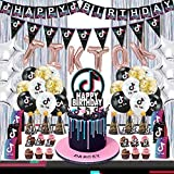 66pc TIK Tok Suministros para fiesta Decoraciones TIK Tok para cumpleaños niñas incluyen banderines, pancartas, globos, adornos para tartas, bolsas de dulces, sombreros de fiesta, cortinas de aluminio