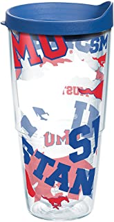 Tervis SMU Mustangs All Over Tumbler with Wrap and Blue Lid 24oz, Clear