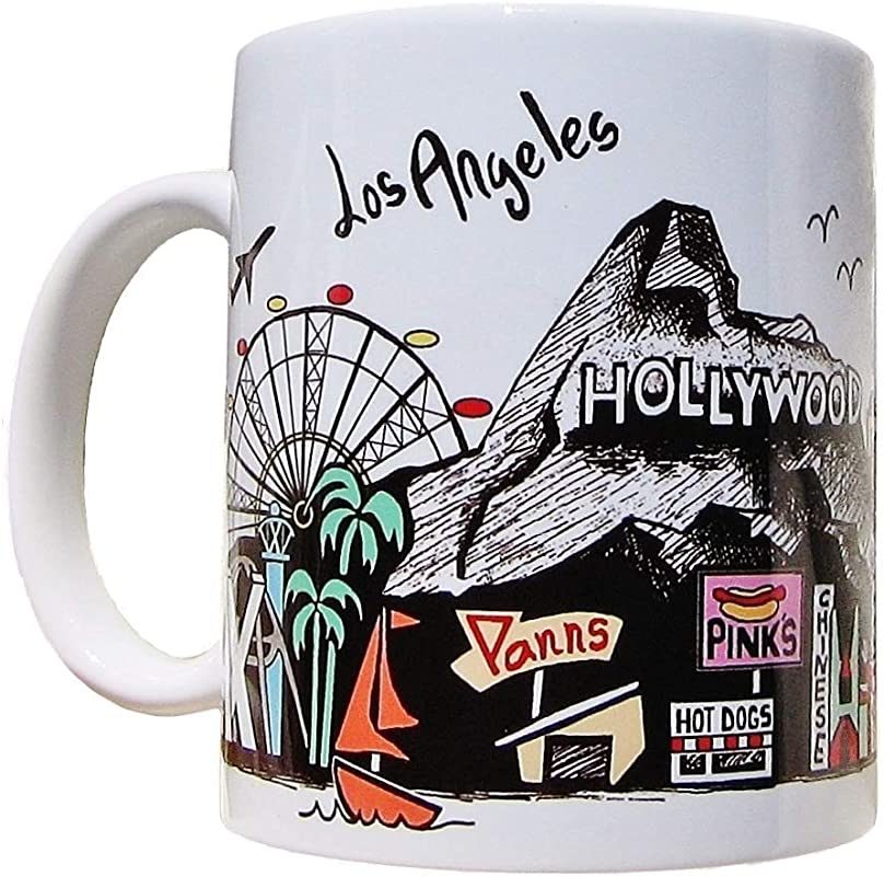 LOS ANGELES Skyline Coffee Mug LANDMARKS Hollywood Sign Randy S Donuts Mann S Chinese Staples Center Observatory