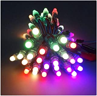 Visdoll 50pcs WS2811 12mm Digital Diffuesed RGB Pixels String Light, DC 12V Waterproof Individually Addressable Full Color LED Rope Light for Advertising Board & Chirstmas Decoration