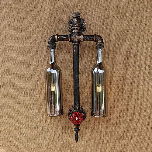 Retro Simple Cafetería Industrial Viento Ropa Tienda Creativa Americana Restaurante Bar Mesa Botella Hierro Forjado Tubo de Agua Lámpara de Pared