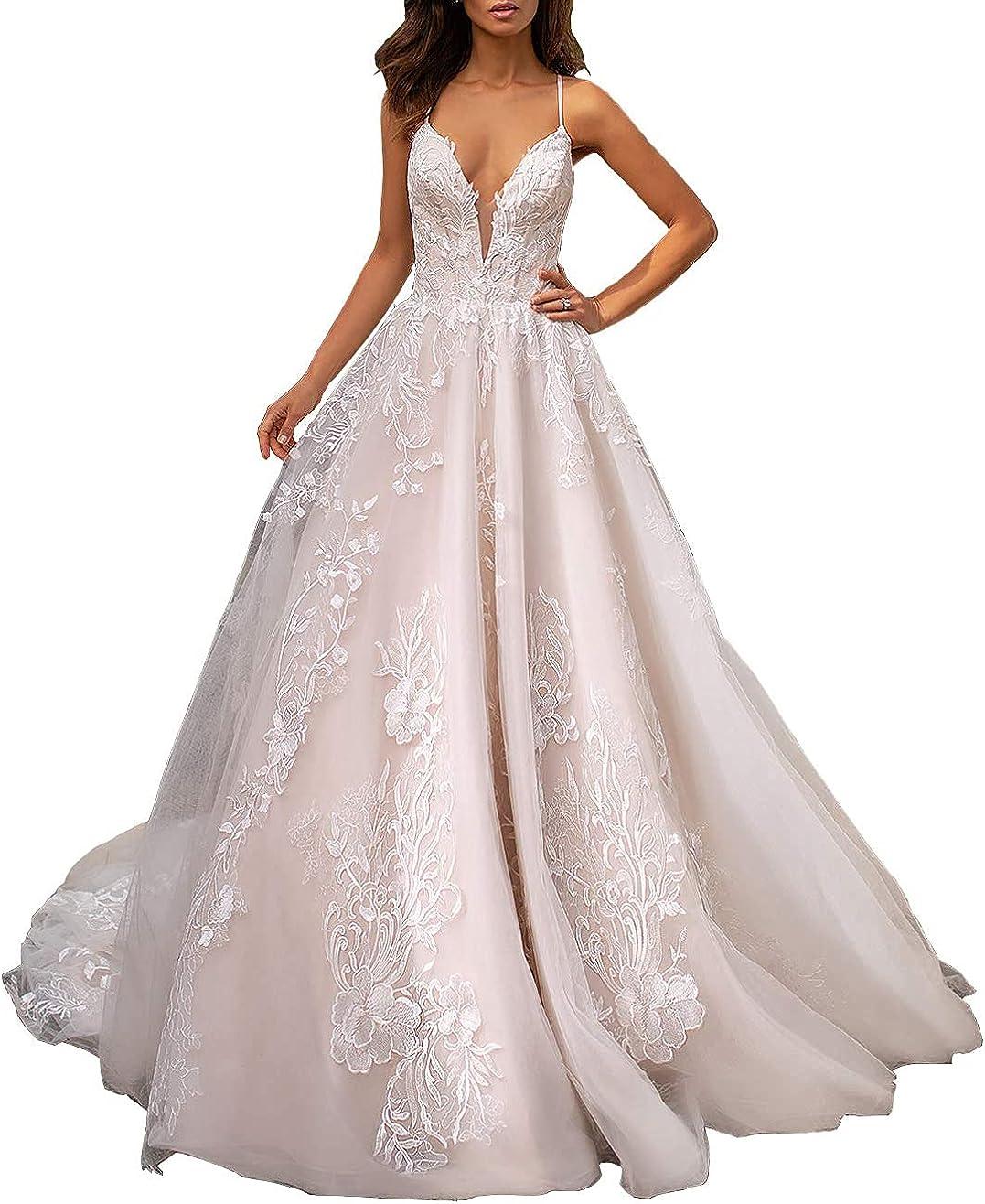 FRECASA Deep V-Neck Wedding Dresses for Bride Spaghetti Ball Gown A-Line Tulle...