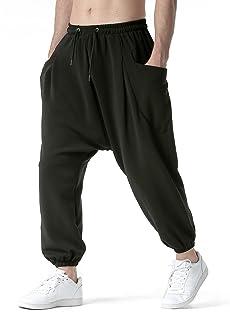 MakingDa Mens Drop Crotch Joggers Tracksuit Bottoms Elasticated Waist Harem Pants Baggy Stretch Hippie Dance Bloomers Yoga...