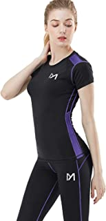 MEETYOO Women's Compression Base Layer, Cool Dry Sport Workout Short Sleeves T-Shirt and Leggings Yoga Running Cycling