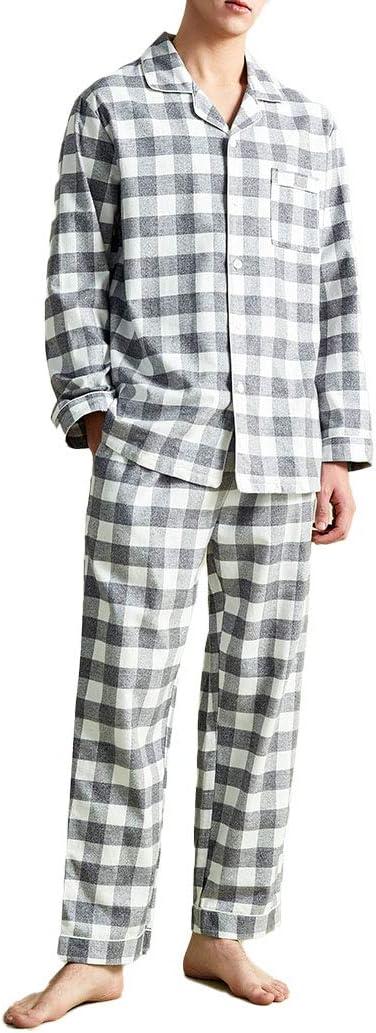 LZJDS Men's Pyjamas Set Cotton Plaid Long Sleeve Shirt & Pants Loungewear Nightwear Sleepwear PJ's for Man,Light Coffee,M