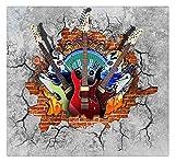 Murales 3D Wallpaper Guitarra Rock Graffiti Art Broken Brick