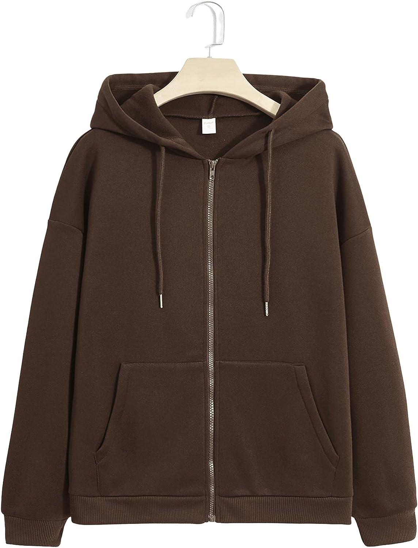 WDIRARA Women's Zipper Front Hooded Drawstring Pocket Sweatshirt Hoodie Tops