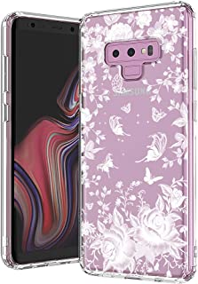 MOSNOVO Galaxy Note 9 Case, White Roses Garden Floral Flower Pattern Printed Clear Design Transparent Plastic Back Case with TPU Bumper Protective Case Cover for Samsung Galaxy Note 9
