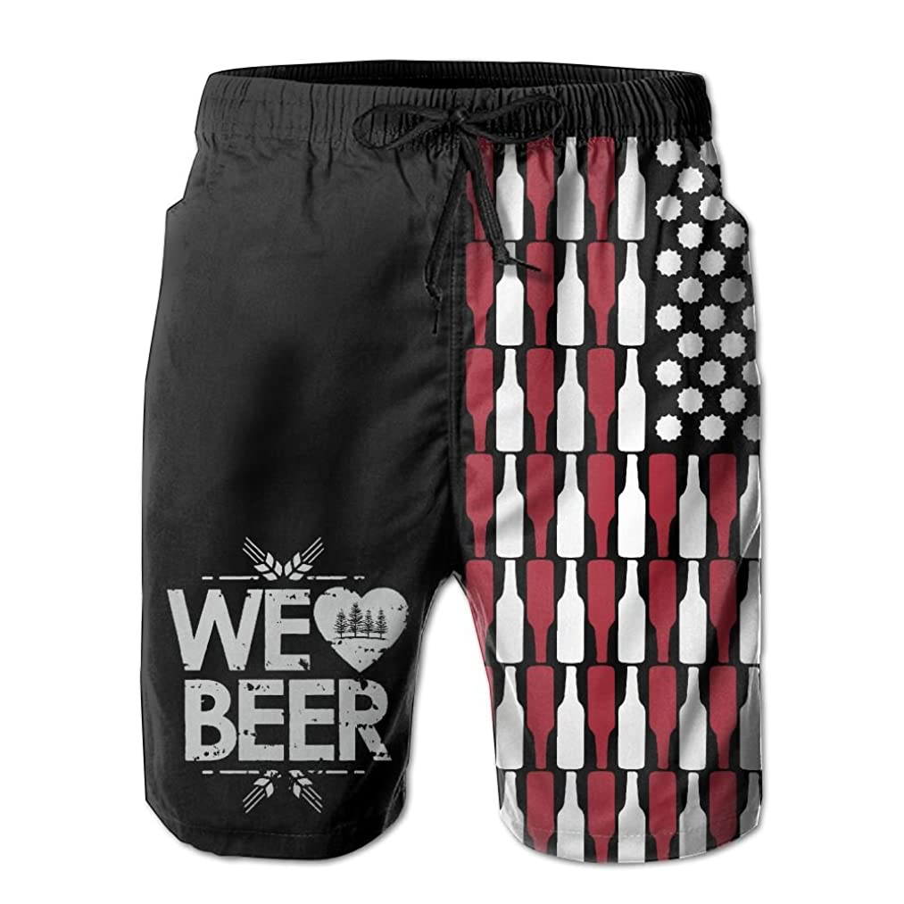 DS-co Beer USA Flag Men's Summer Beach Quick-Dry Surf Swim Trunks Boardshorts Cargo Pants