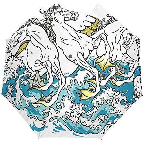 Fairy Tale Sea Horses Blue Ocean Wave Auto Paraguas A Prueba de Viento, Viaje Resistente Protección UV Paraguas Paraguas para Sol y Lluvia para Hombres Mujeres, Automático Abrir y Cerrar