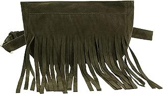 Fashion tassel style waist bag Women Pure Color Square Flock Chest Waist belt Fanny Pack Waist Bag,GREEN,United States