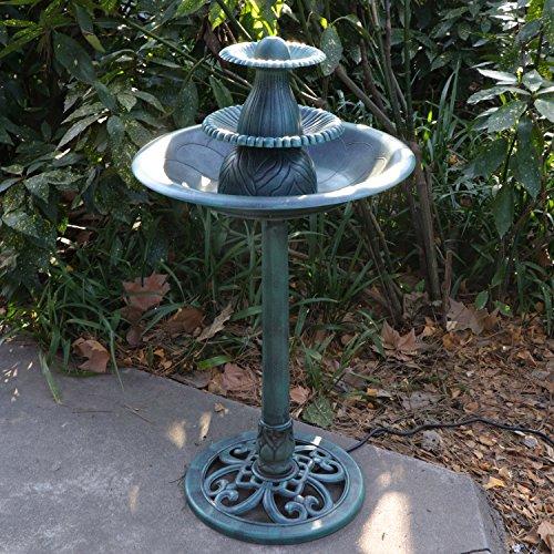 Nova Microdermabrasion 3-Tier Pedestal Bird Bath Fountain W/Pump Outdoor Garden Decor