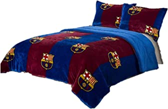 FCB FCBarcelona 3pcs Sherpa Set Queen Size, Blanket Set with 2 Pillow Shams