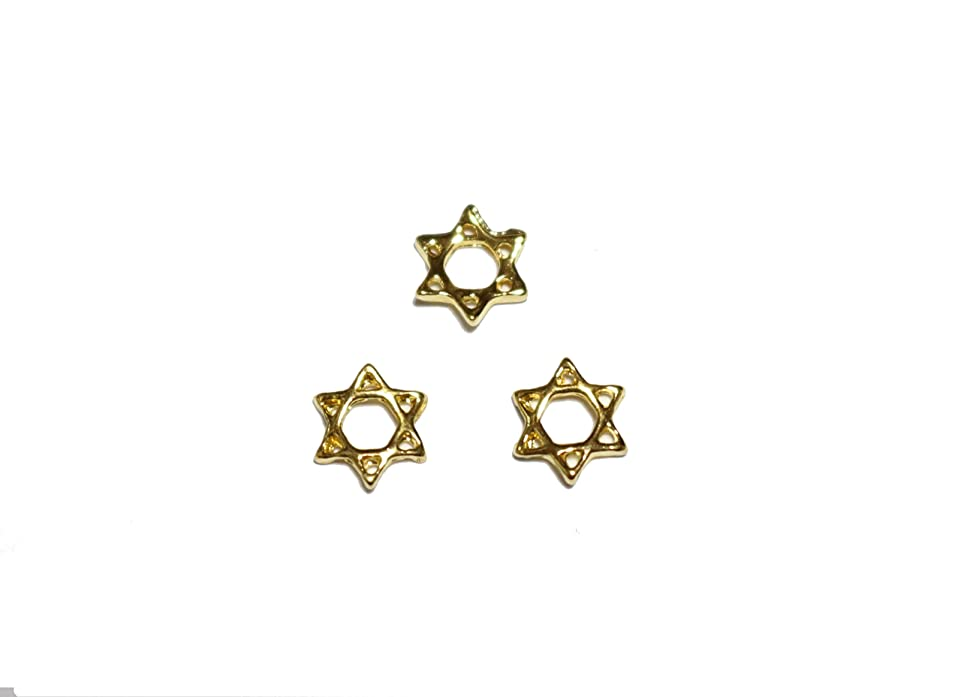ハッピー外交真剣に【jewel】メタルネイルパーツ ヘキサグラム 5個入 ゴールドorシルバー 六角星型スタッズ ジェルネイル デコ素材 (ゴールド)