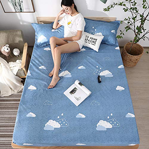 lhmlyl Mattress Protector Doublewaterproof Urine-Proof Bed With Solid Color Non-Slip Breathable Pad Printing Elderly Nursing Pad Physiological Pad-Clouds_200*220