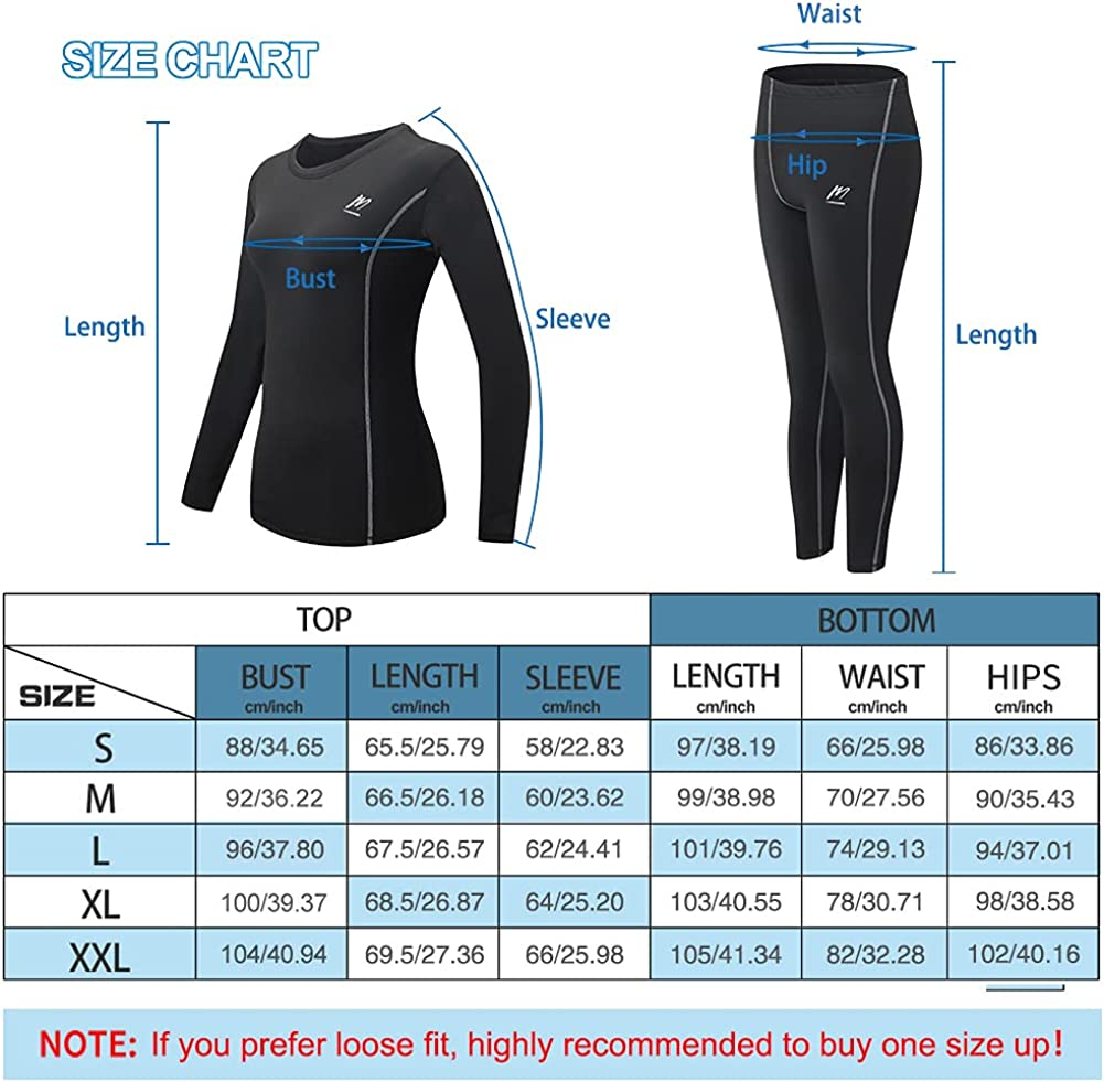 MeetHoo Thermal Underwear for Women, Winter Warm Base Layer Compression Set, Fleece Lined Long Johns Running Skiing