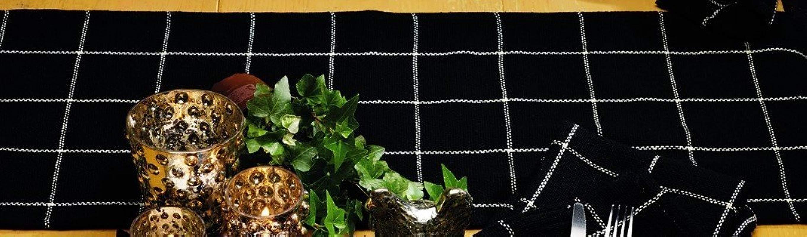 Olivia S Heartland Soft Cotton Burlap Check Black Short Table Runner